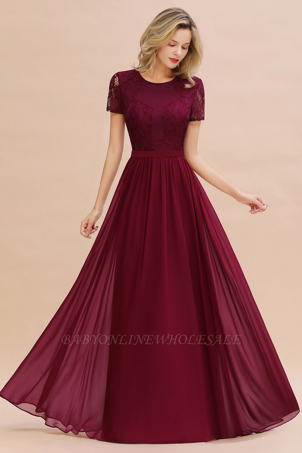 Abraham | Burgundy Short Sleeve Lace Simple Chiffon Formal Dress, Pink, Dark Green