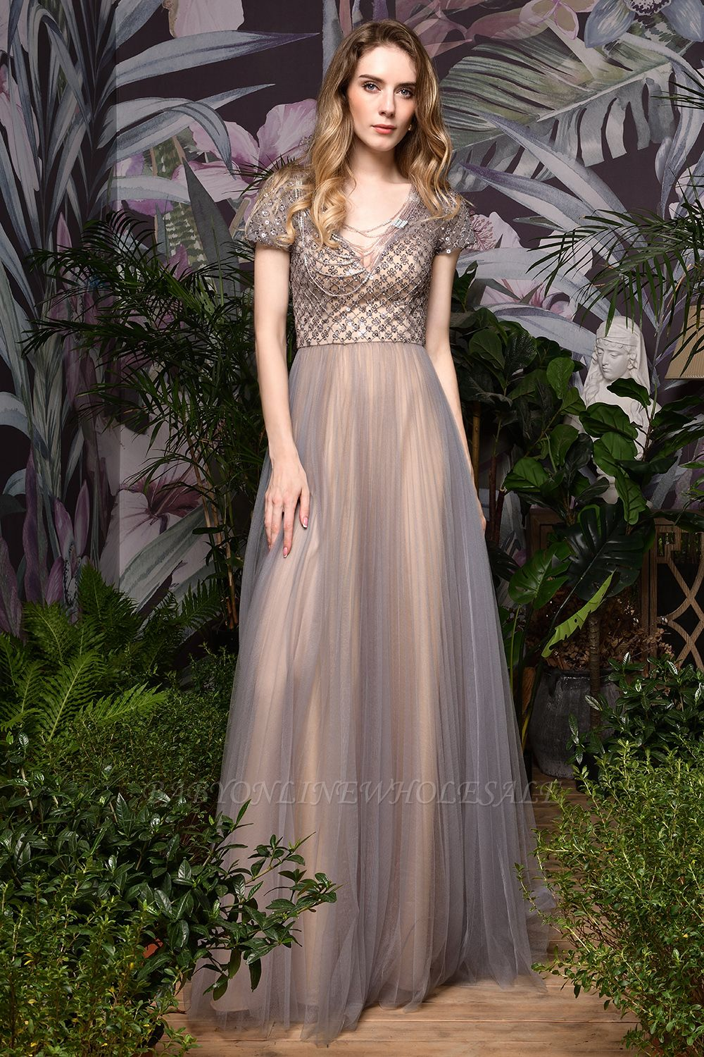 Aria | Stunning Short Sleeves Squared Sequined Tulle Luxury Prom Dress