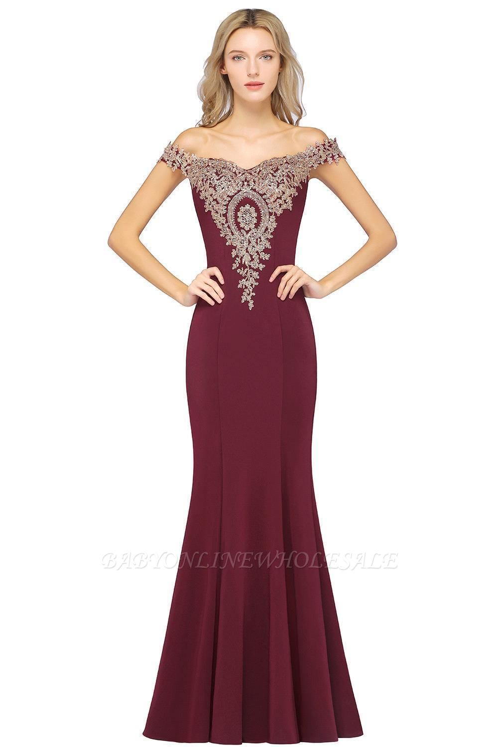 Simple Off-the-shoulder Cheap Burgundy Formal Dress with Lace Appliques