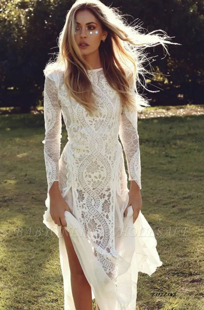 Elegant Boho Long Sleeves Backless Lace Beach Wedding Dress   Simple Summer Casual Bridal Gowns Online