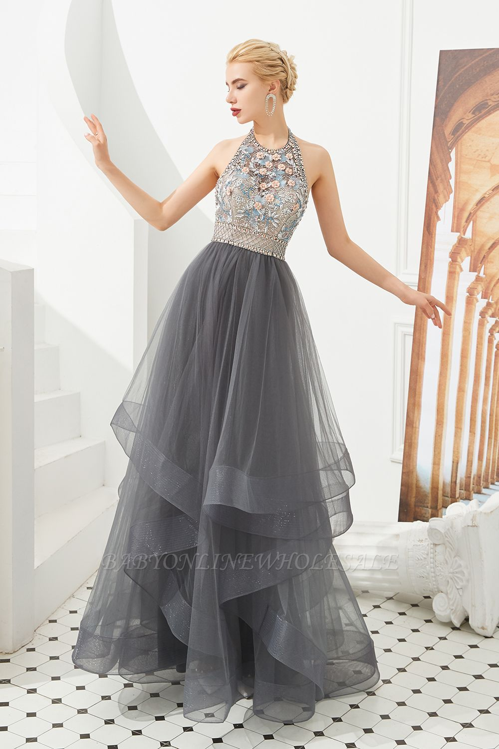 Floral Halter Evening Dress with Sparkle Beads | Trendy Gray Mother of the bride Dress with watermelon and blue decorations