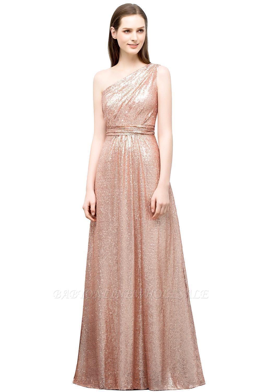 JOURNEE   A-line One-shoulder Sleeveless Floor Length Sequins Prom Dresses
