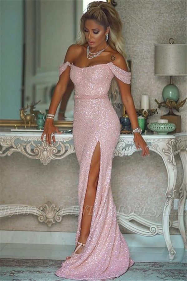 Shiny Sequins Pink Prom Dresses With Slit | Off The Shoulder Sexy Evening Gowns With Buttons