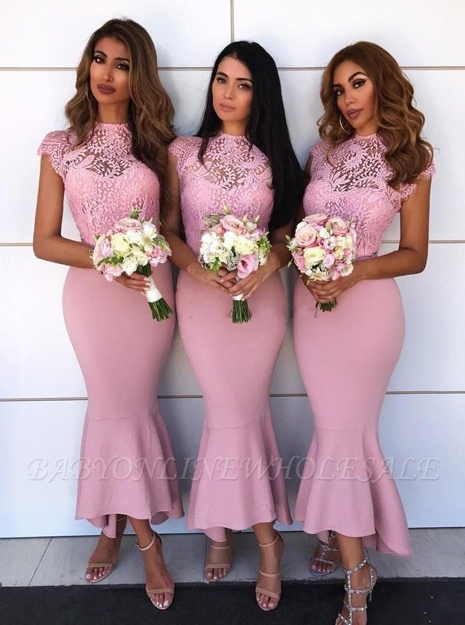 Delicate Lace Cap Sleeves Bridesmaid Dresses At Ankle Length | Sheath High Neck Lace Dress Formal Wedding Party Dresses