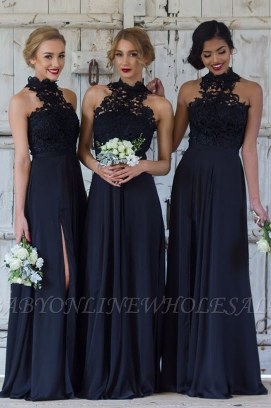 Halter Lace Chiffon Bridesmaid Dress with Split Sleeveless Sexy Maid of Honor Dresses BA7430
