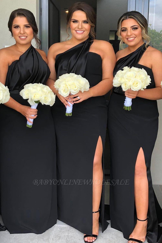 Fit One-shoulder Split Black Bridesmaid Dress   Backless Fitted Formal Prom Dresses