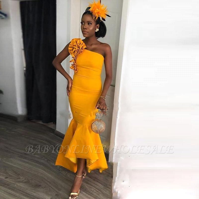 One-shoulder Yellow Mermaid Ankle-length Evening Dress with hand-made Flowers   Bridesmaid Dresses under $100