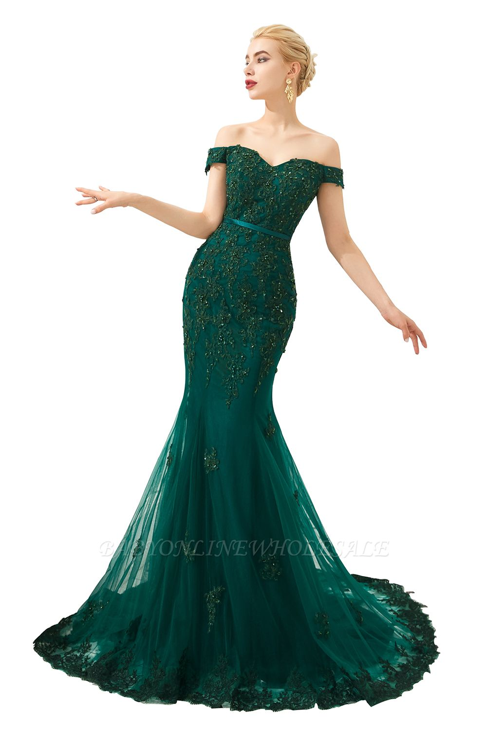 Harvey | Emerald green Mermaid Tulle Prom dress with Beaded Lace Appliques