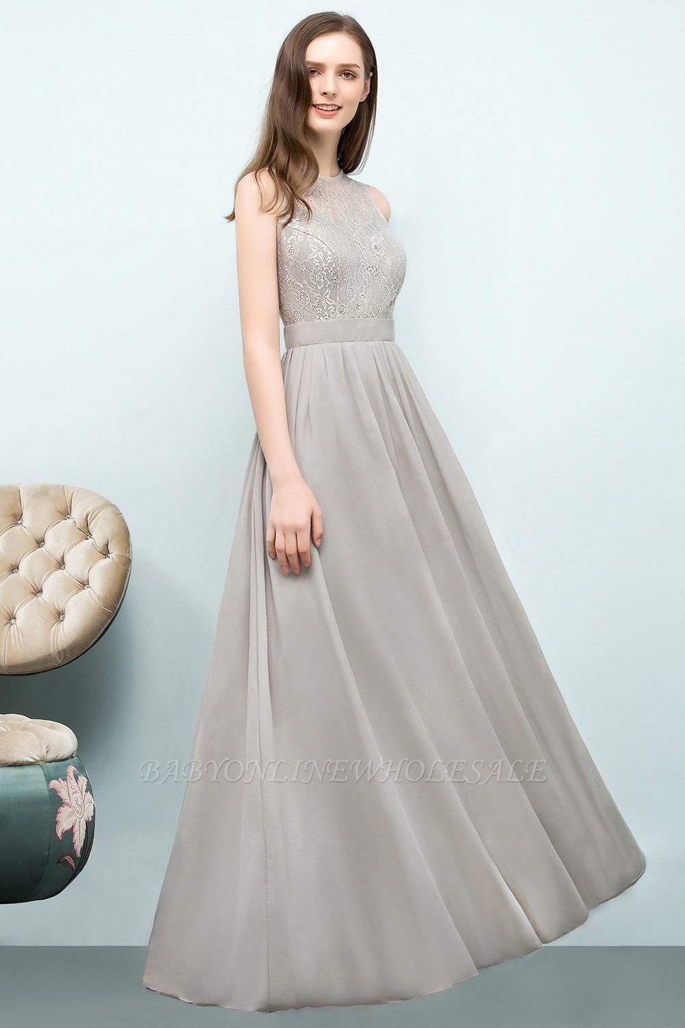 SILVIA | A-line Sleeveless Long Lace Top Chiffon Bridesmaid Dresses