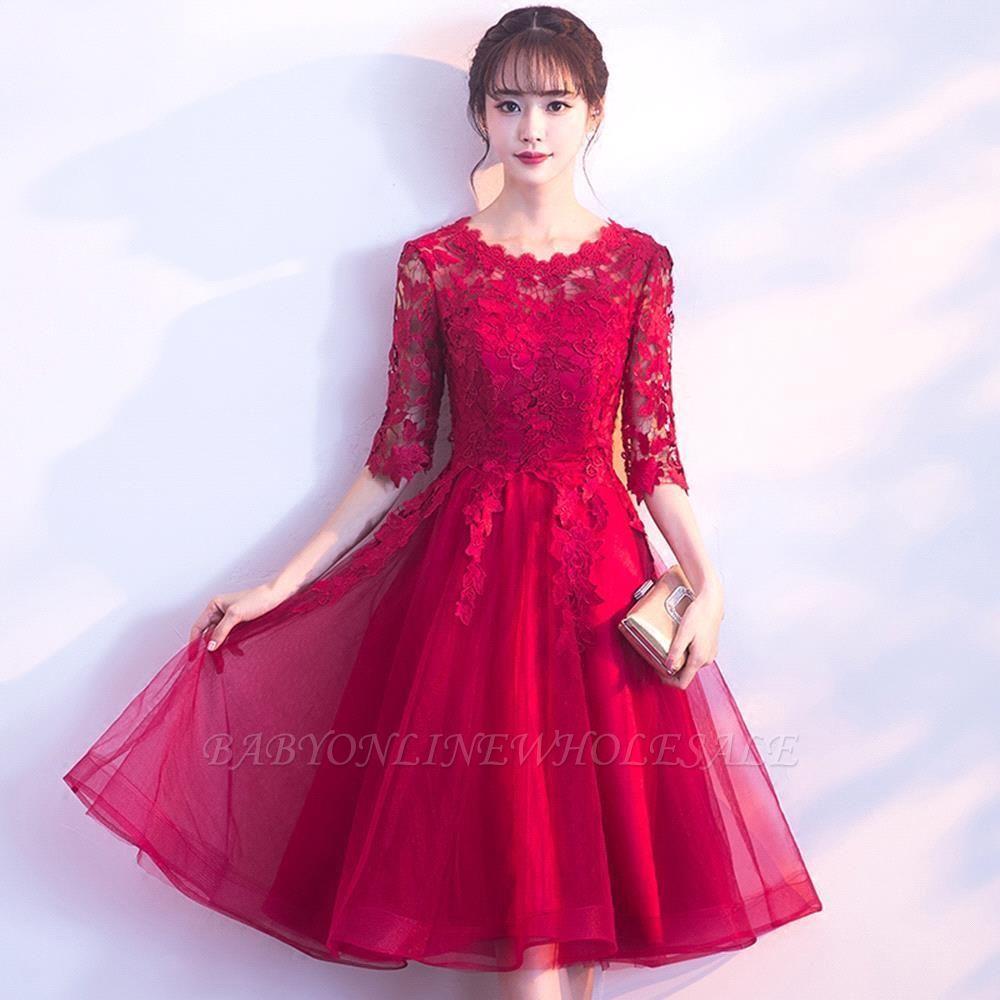 MARGARET | A-line Half sleeves Short Burgundy Appliques Tulle Homecoming Dresses