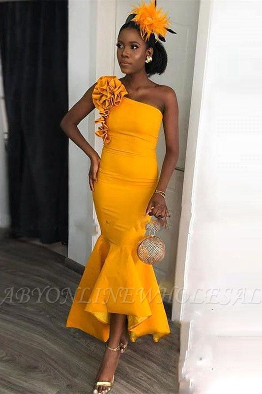 One-shoulder Yellow Mermaid Ankle-length Evening Dress with hand-made Flowers | Bridesmaid Dresses under $100