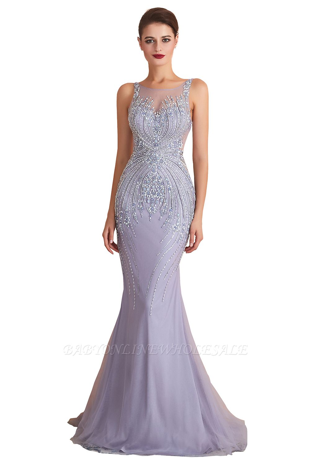 Chipo | Luxury Illusion neck Lavender White Beads Prom Dress Online, Expensive Low back Column Evening Gowns