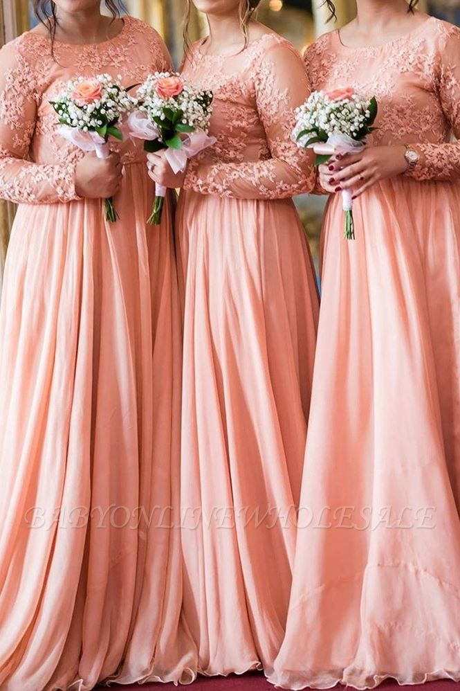 Long Sleeves Lace Appliqued Floor Length Bridesmaid Dresses | Affordable Coral Long Wedding Party Dresses
