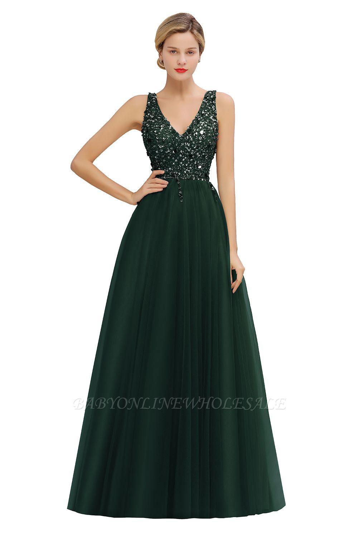 Abina | Robe de bal sexy avec col en V et perles fantaisie avec dos et pierres précieuses