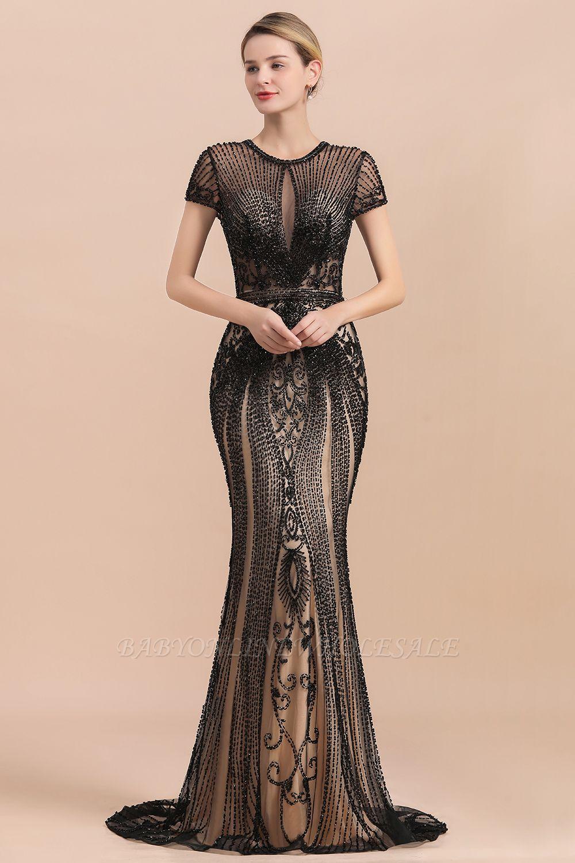 Robe de bal sirène noire de luxe recouverte de perles