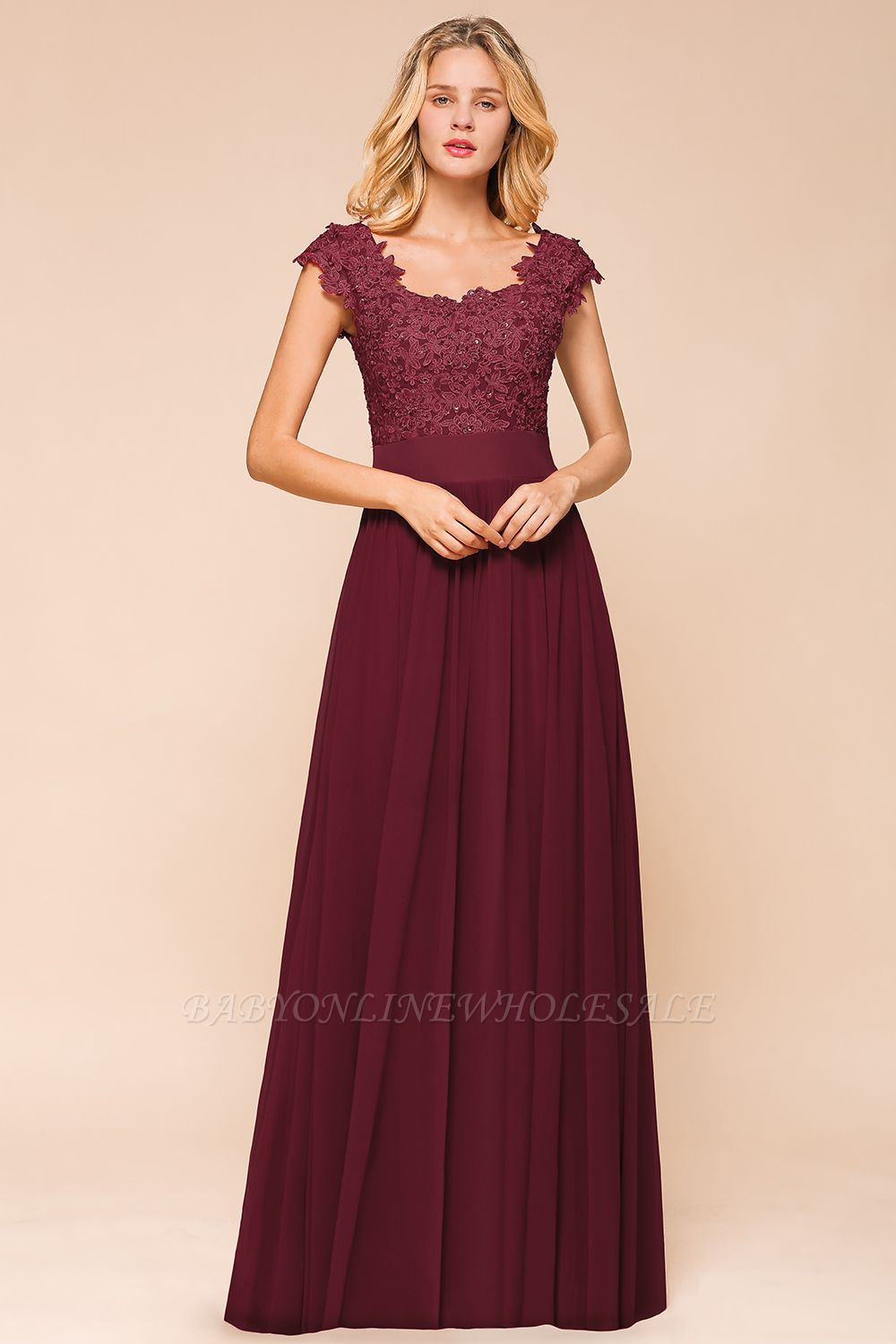 Burgundy Cap sleeves Lace Evening Gowns with Appliques | Cheap Chiffon Long Mother of the bride dress