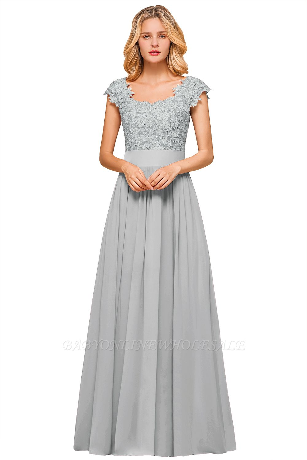 Burgundy Cap sleeves Lace Evening Gowns with Appliques | Chiffon Long Mother of the bride dress