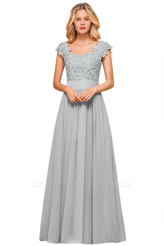 Burgunder Flügelärmel Spitze Abendkleider mit Applikationen | Günstige Chiffon Langes Kleid für die Brautmutter