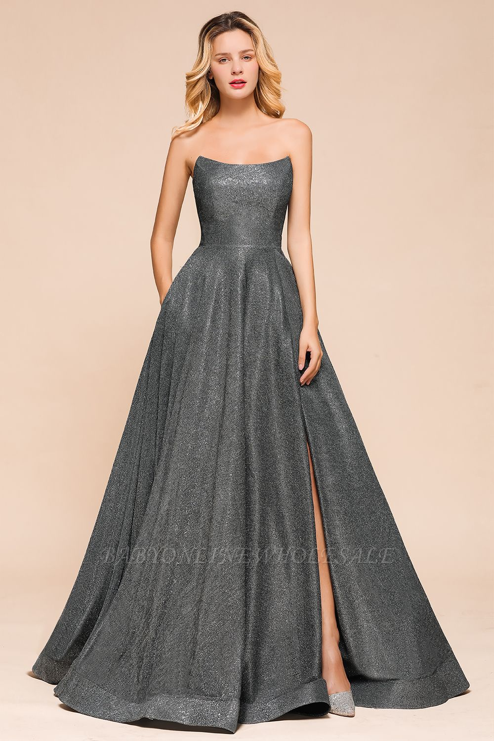 April | Strapless A-line High Slit Gray Shiny Sequined Prom Dress