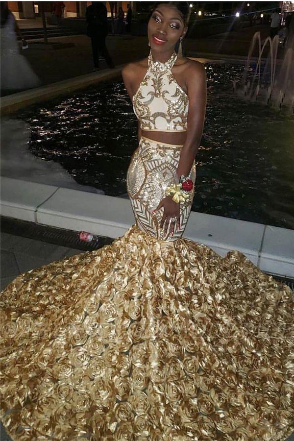 Halter de duas peças dourado apliques sereia 3D-floral trem vestidos de baile