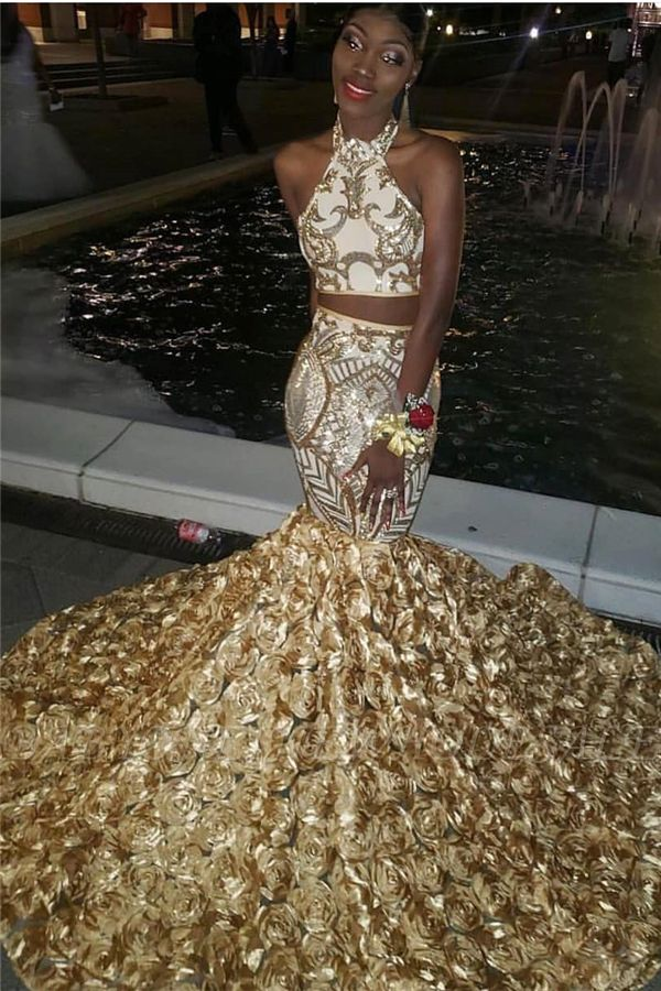 Halter Two-piece Golden Appliques Mermaid 3D-floral Train Prom Dresses