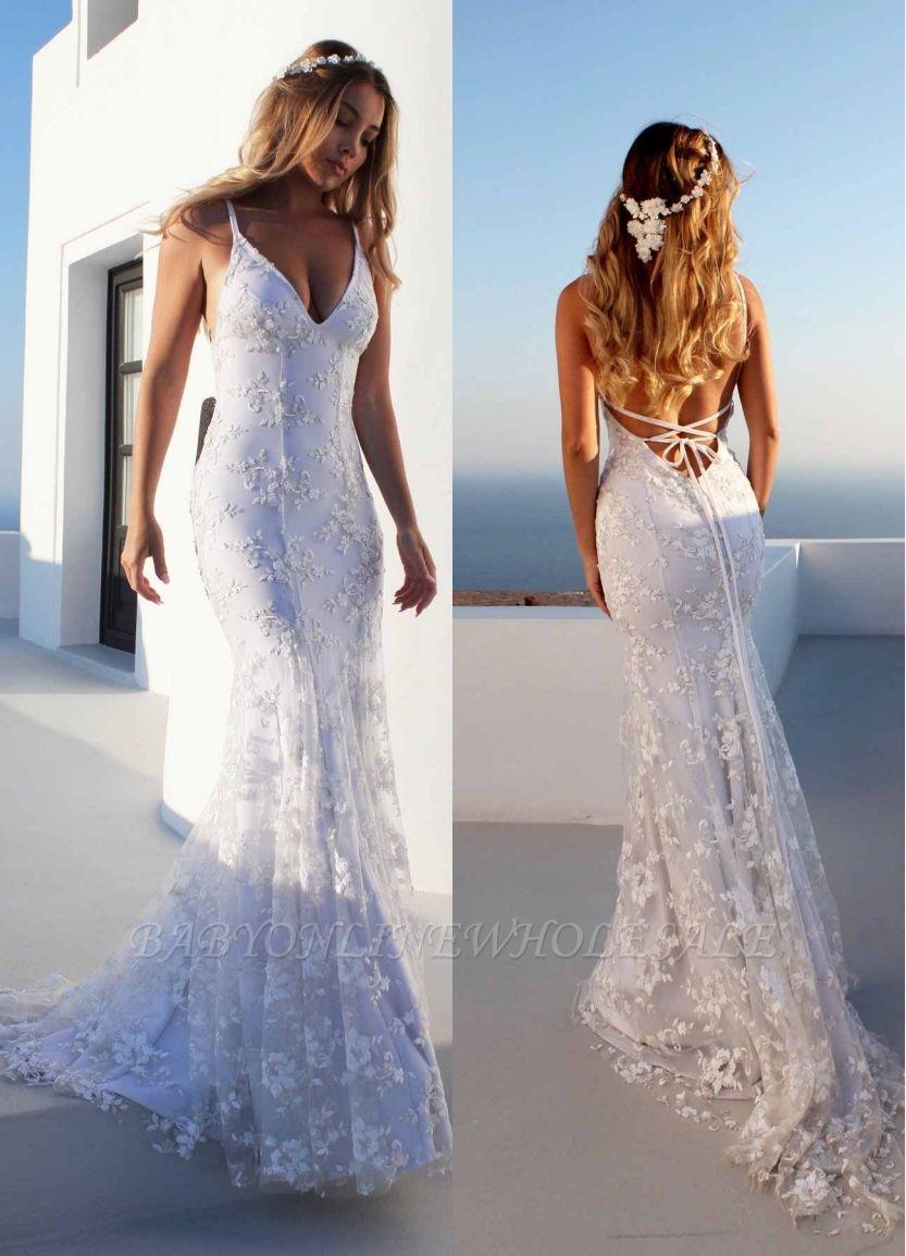 Облегающие платья длиной до пола, кружева V-образным вырезом спагетти с открытой спиной Платья для выпускного   Дешевые платья с кружевом