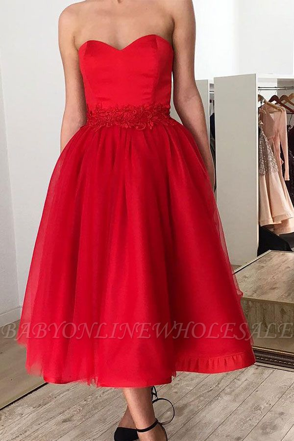 Ruby Sweetheart Short Ankle-length Homecoming Dress with Belt