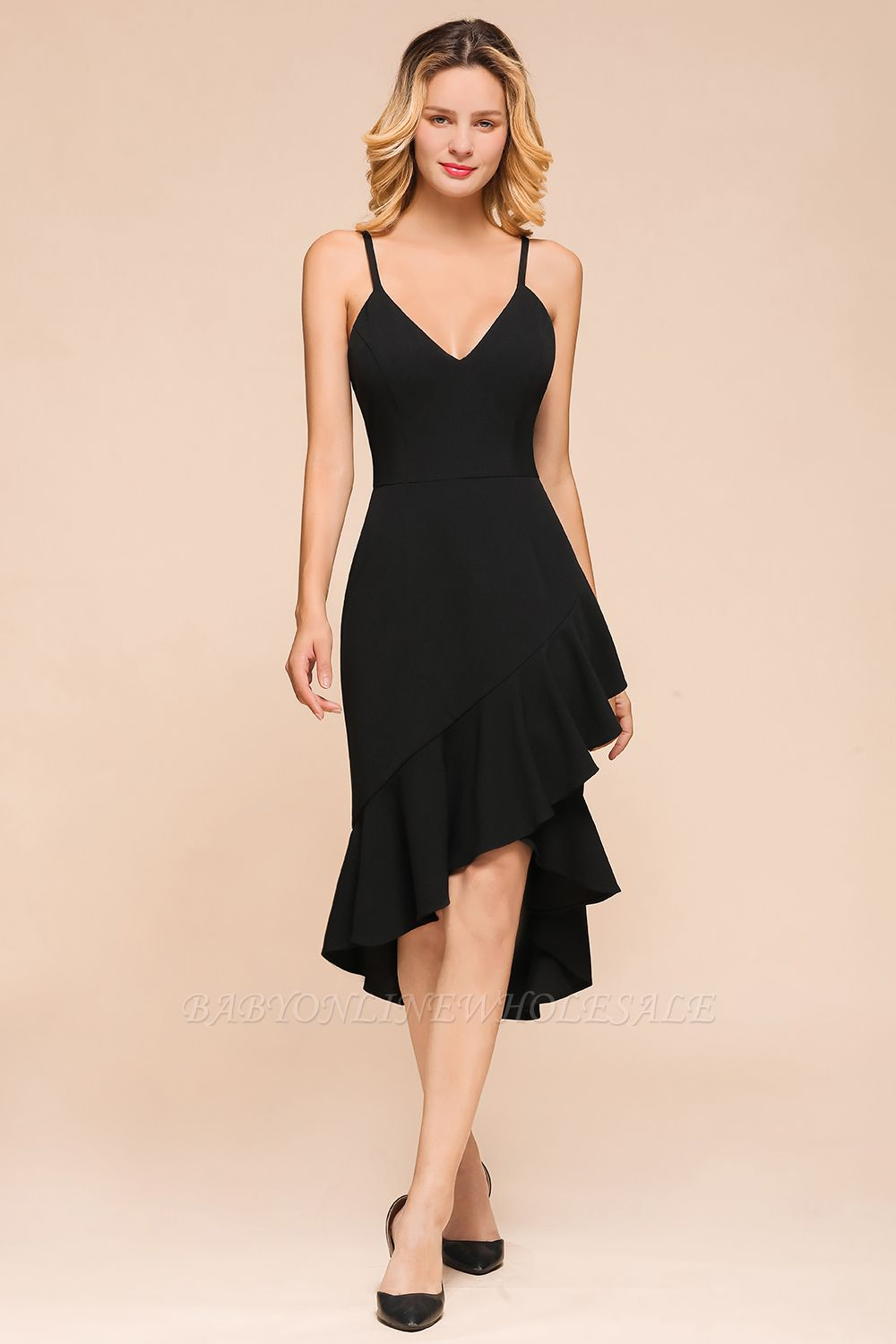 Arnold | Sexy V-neck Spaghetti Strap Ruffles Little Black Dress