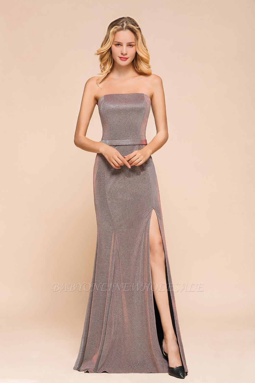 Elegant Strapless Belt Stormy Zipper up High Split Prom Dress