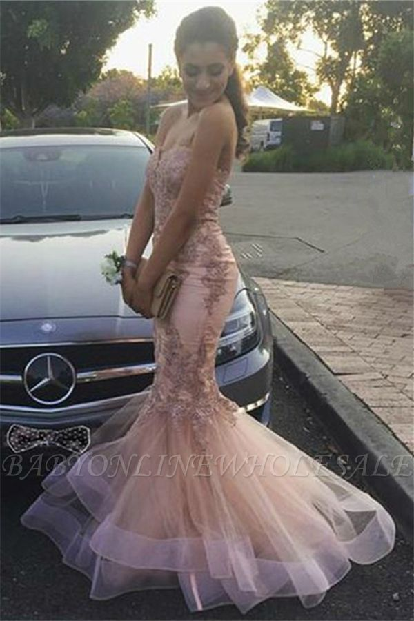 Strapless Mermaid Lace Appliques Ruffled Tulle Pink Prom Dresses