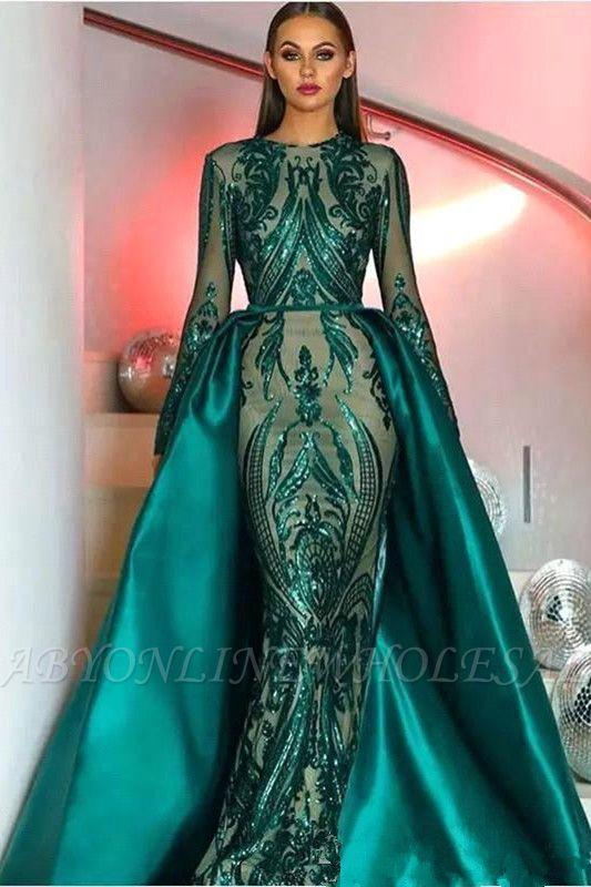 Verde esmeralda mangas compridas vestido de baile de sereia com trem destacável