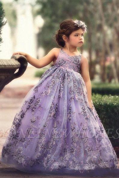 Fee Liac A-Linie Spitze trägerlos und überqueren dünne Träger Blumenmädchenkleider | Günstige bodenlangen Little Girl Pageant Kleider