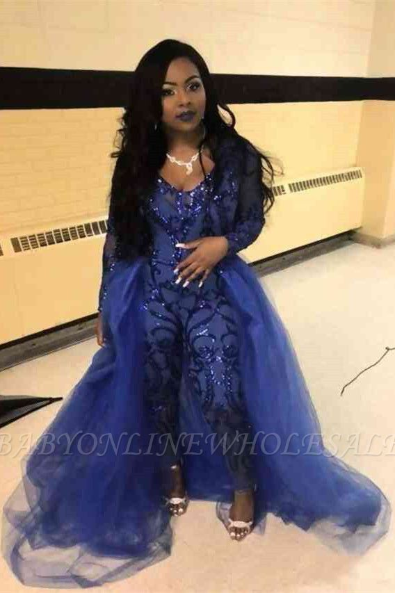 Special Style Long Sleeves Scoop Jumpsuit With Detachable Tulle Skirt | Cheap Royal Blue Party Gowns