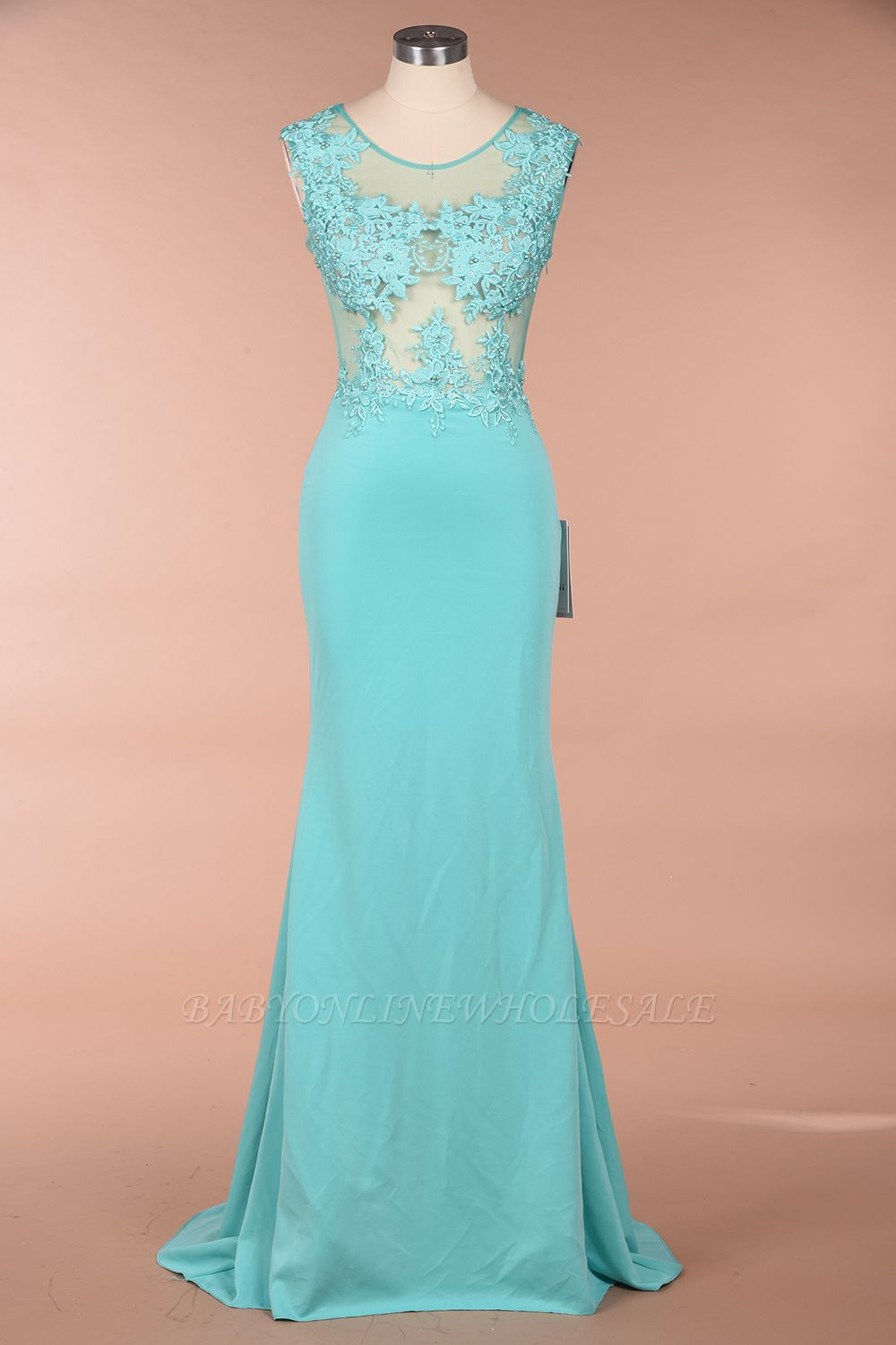 Arrick | Mint Green round neck Cap sleeve Lace appliques Prom Dress