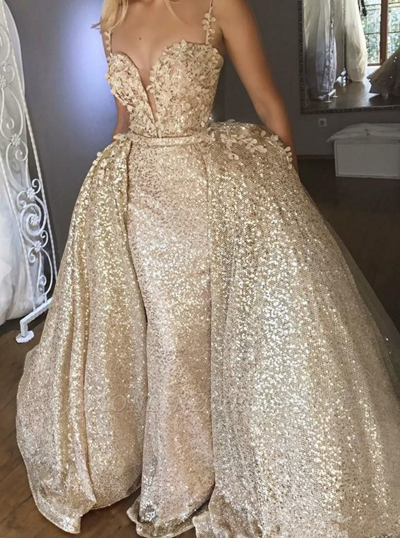 Shiny Sequins V Neck Spaghetti Straps Appliqued Prom Dresses With Detachable Skirt | Cheap Champagne Evening Gowns