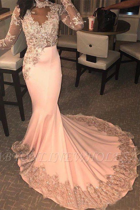 Trendy Long Sleeves Appliques Pink Mermaid Abendkleider