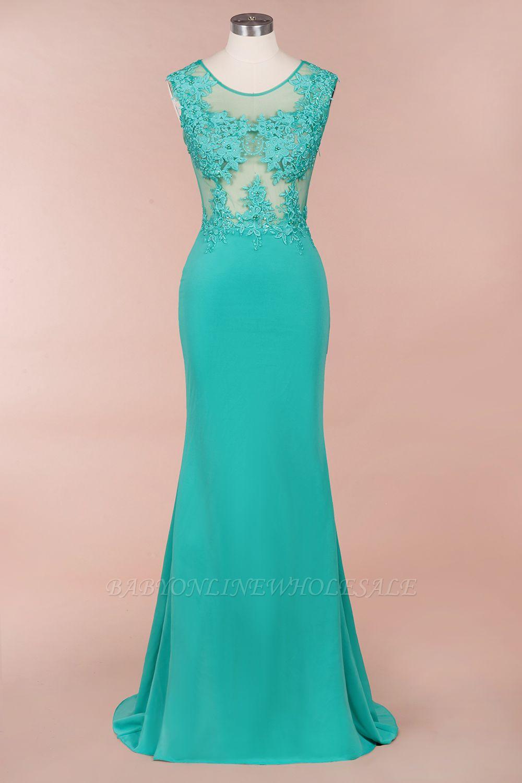 Arrick | Mint Green round neck Cap sleeve Lace appliques Prom Dress