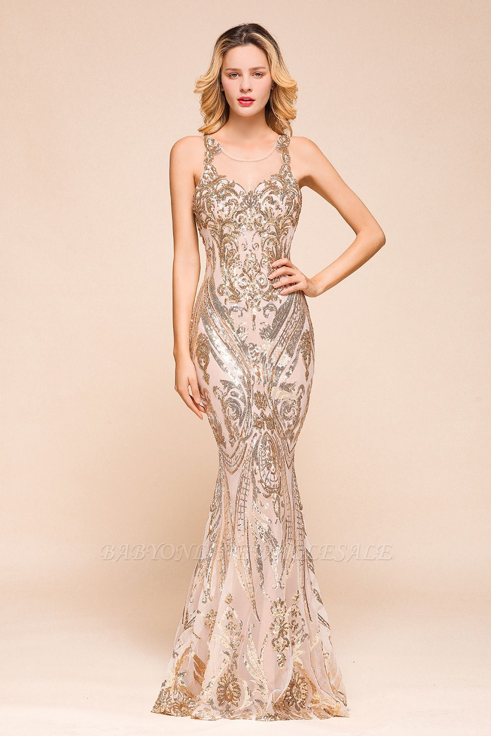 Sparkle Sequined High neck Sleevelss Rose Gold Mermaid Long Evening Dresses