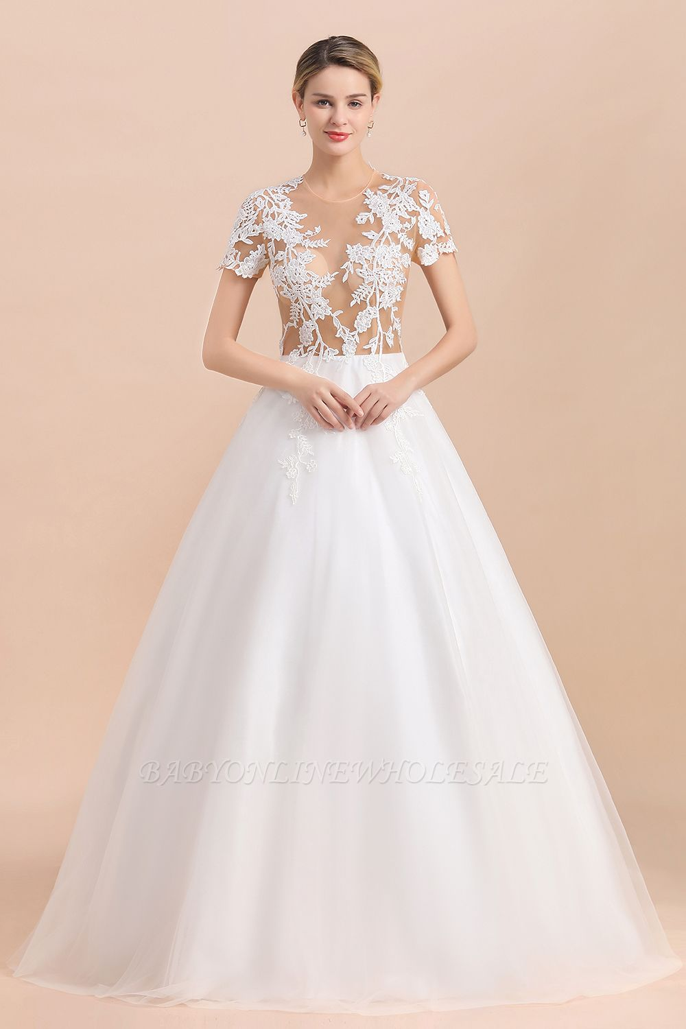 Elegant White Short Sleeves Ball Gown Buttons Lace Applique Wedding Dress