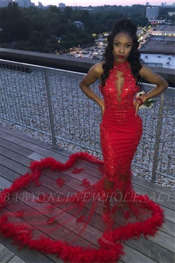 Halter Keyhole Décolleté Illusion Train Fourrure Garniture Appliqued Mermaid Robes de bal