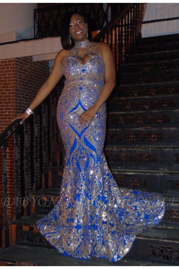 Plus Size Halter Sequins Appliques Long Mermaid Prom Dresses