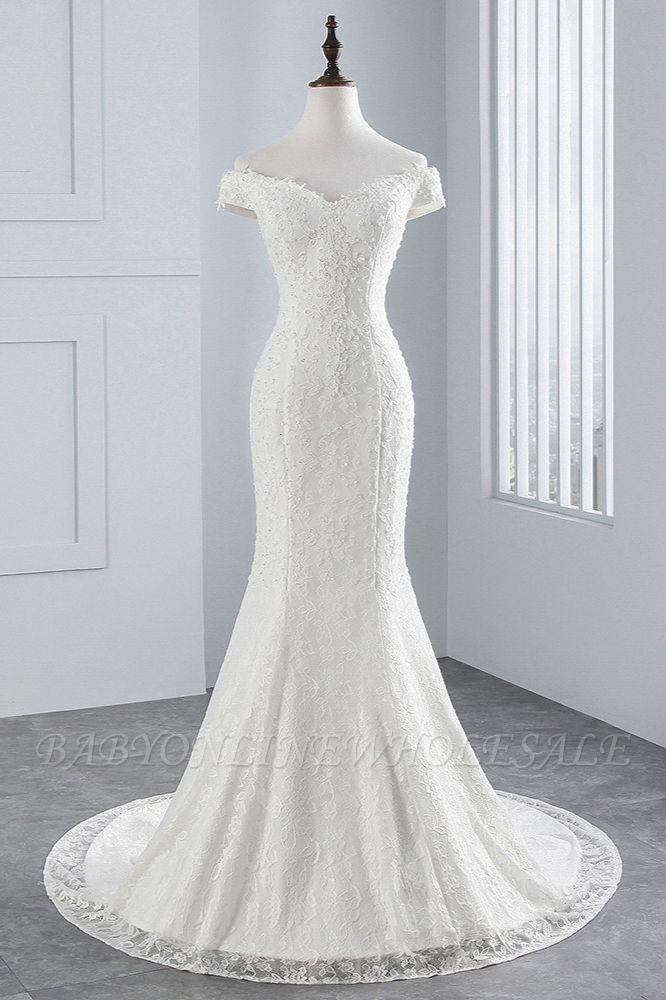 Elegantes schulterfreies Brautkleid aus weißer Meerjungfrau