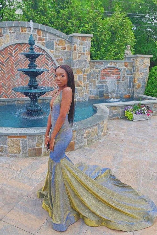 Radiant V-neck Sleeveless Brush Train Long Mermaid Prom Dresses