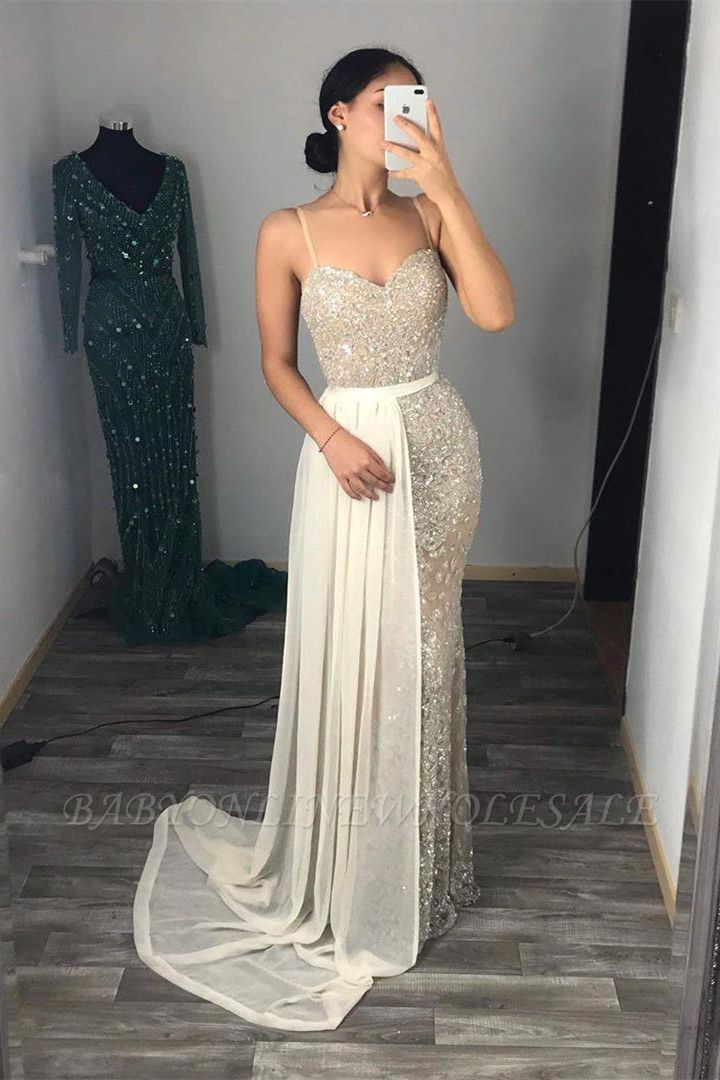Bling Sheath Spaghetti Straps Beading Sweetheart Neckline Thin Straps Sleeveless Prom Dresses   Cheap Tight Party Gowns