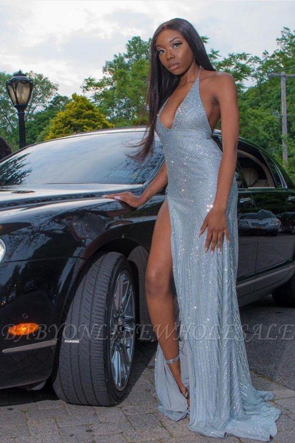 Sexy Halter V-Neck Sequins Front Slit Long Mermaid Robes de bal