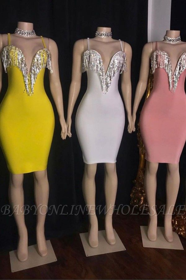 Tassels Deep V-neck Spaghetti Straps Mini Mermaid Hoco Dresses