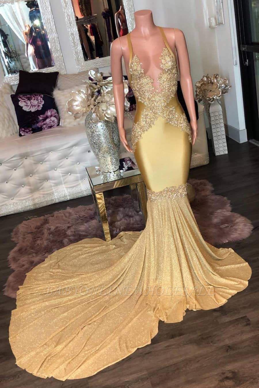 Superbes appliques dorées Spaghetti longues robes de soirée sirène