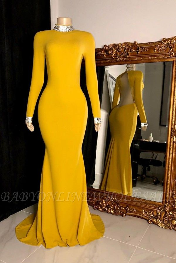 Curvy Long Sleeves Open Back Mermaid Evening Dresses
