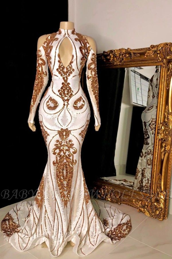 Gorgeous Beading Sequins Keyhole Neckline Cold Shoulder Long Sleeves Mermaid Formal Gowns