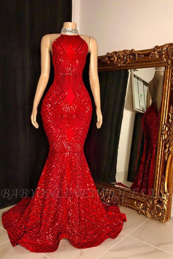 Halter Lace-up lantejoulas até o chão vermelho sereia vestidos de baile